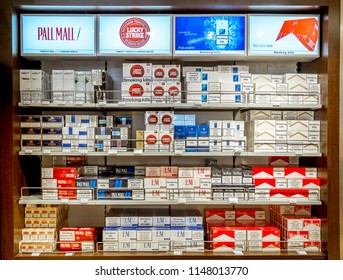 Saint-Petersburg.Russia.6 April 2018.View of the shop window with packs of cigarettes on the ferry Princess Anastasia