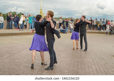Saint-Petersburg.Russia.July 13.2019.Dancing in the town square in the fresh air.Anyone who wants to dance to music can take part.This is ballroom dancing Rumba, Tango, Salsa, Cha Cha, Samba.