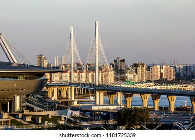 Saint-Petersburg.Russia.July 15, 2018. View of the cable-stayed bridge of the Western high-speed  section of the ring road  and stadium in St. Petersburg