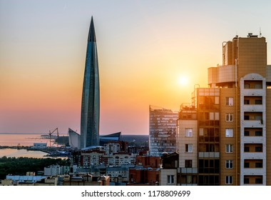 Saint-Petersburg.Russia.July 15, 2018.View of the skyscraper Lakhta center and the embankment at sunset.