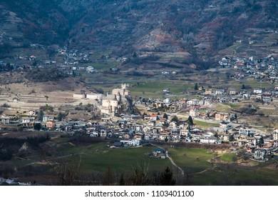 Saint-Pierre, village in Aosta Valley, Valle d'Aosta, Italy