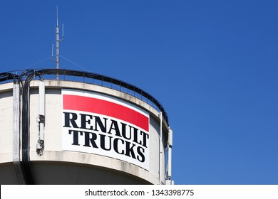 Saint-Priest, France - September 8, 2018: Renault Trucks logo on a pole. Renault Trucks is a French commercial truck and military vehicle manufacturer with corporate headquarters at Saint-Priest