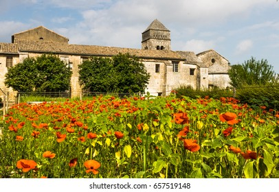 SAINT-REMY-DE-PROVENCE  , FRANCE -June 1, 2017. Saint-Paul-de-Mausole, St-Remy-de-Provence. Red poppies against the background of the monastery.