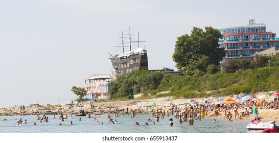 SAINTS CONSTANTINE AND HELENA, BULGARIA - JULY 02, 2015: Saints Constantine and Helena, the oldest sea resort of Bulgaria, exists from 19 century - beach, hotel Sirius, restaurant in sailing ship.