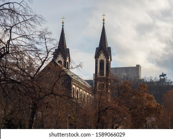 Saints Cyril and Methodius church and National Monument at Vitkov with Equestrian Statue of Jan Zizka viewed from Karlinske namesti square park with late autumn trees. Czech Republic, Prague - Shutterstock ID 1589066029