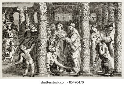 Saints Peter and John blessing suffering people in the temple threshold. After drawing created by Raphael and kept in Hampton Court, London. Published on Magasin Pittoresque, Paris, 1842