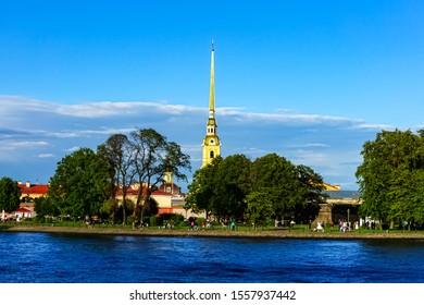 Saints Peter and Paul Cathedral known as Petropavlovskaya Krepost, Saint Petersburg-Russia. Saint Petersburg, Russia June 25, 2019.