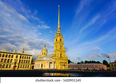 Saints Peter and Paul Cathedral, located in Peter and Paul Fortress Petropavlovskaya Krepost located on the Hare Island, Saint Petersburg-Russia. Saint Petersburg, Russia June 29, 2019.