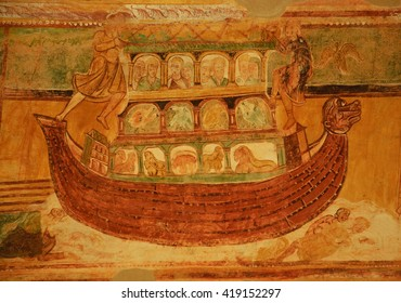 SAINT-SAVIN, FRANCE - MAY 5, 2016: Noah's Ark at 12th century Romanesque frescoes of Abbey Church of Saint-Savin-sur-Gartempe, which is a UNESCO World Heritage site
