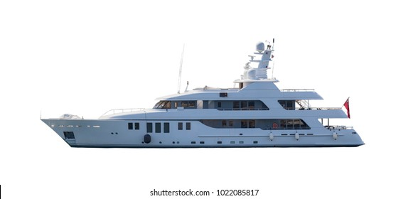 SAINT-TROPEZ, FRANCE - APRIL 16, 2014: Luxury Yacht My Little Violet from Cayman Islands on white background.
