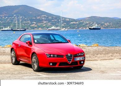 SAINT-TROPEZ, FRANCE - AUGUST 3, 2014: Motor car Alfa Romeo Brera at the city street.