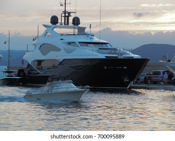 Saint-tropez, France - august 8 2017: A large luxury yacht is docked at the port of Saint-Tropez, France.