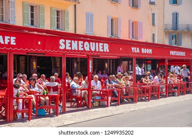 SAINT-TROPEZ, FRANCE - JUNE 06, 2013: Cafe Senequier in Saint-Tropez in the Department Var of the province Provence-Alpes-Cote d Azur