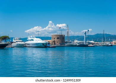 SAINT-TROPEZ, FRANCE - JUNE 06, 2013: Marina with the Tour du Portalet tower in Saint-Tropez in the Department Var of the province Provence-Alpes-Cote d Azur