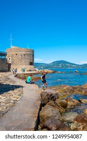 SAINT-TROPEZ, FRANCE - JUNE 06, 2013: Tourists at the Tour du Portalet tower in Saint-Tropez in the Department Var of the province Provence-Alpes-Cote d Azur