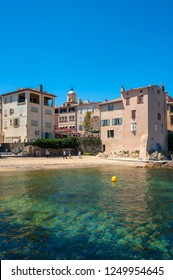 SAINT-TROPEZ, FRANCE - JUNE 06, 2013: Houses in the old fishing district at Ponches Beach in Saint-Tropez in the Department Var of the province Provence-Alpes-Cote d Azur