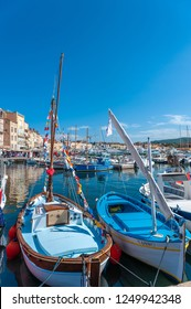 SAINT-TROPEZ, FRANCE - JUNE 10, 2013: Fishing boats in the harbor of Saint-Tropez in the Department Var of the province Provence-Alpes-Cote d Azur