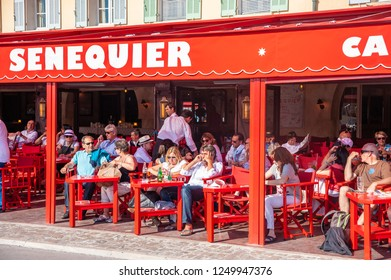 SAINT-TROPEZ, FRANCE - JUNE 10, 2013: Cafe Senequier in Saint-Tropez in the Department Var of the province Provence-Alpes-Cote d Azur