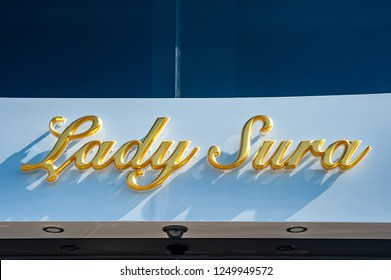 SAINT-TROPEZ, FRANCE - JUNE 10, 2013: Lettering of the yacht Lady Sura in Saint-Tropez in the Department Var of the province Provence-Alpes-Cote d Azur