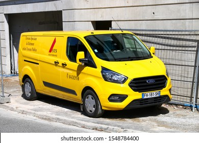 Saint-Tropez, France - September 11, 2019: Cargo van Ford Transit in the city street.