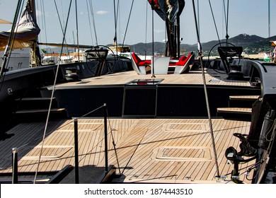Saint-Tropez September 2018  Modern dreamy sailboat during Les Voiles de Saint-Tropez in the port of Saint-Tropez on the French Riviera in the South of France