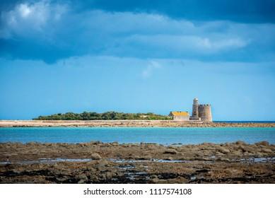 "Saint-Vaast-La-Hougue, Fort de l'Ilet. The citadel, as part of the ""Fortifications of Vauban"" group - UNESCO World Heritage Site of France. Normandy, France"