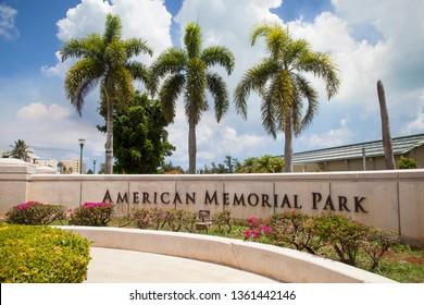 Saipan, USA - June 15 2017: Entrance Sign of American Memorial Park