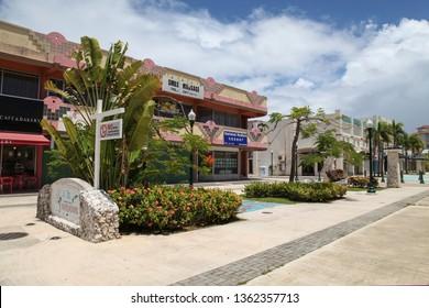 Saipan, USA - June 16 2017: Paseo de Marianas, Street in the Center of Garapan