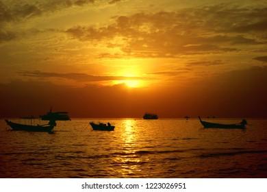 Sairee beach, Koh Tao / Thailand - Jul 5, 2016: sunset in Sairee beach Koh Tao Thailand