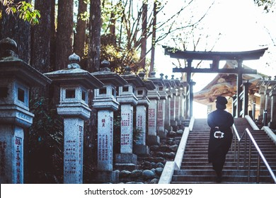 SAITAMA, JAPAN - 2018/04/20: A traveller in Mitsumine Shrine, a famous power spot and one of Japan's most beautiful mountain shrines. Located in Chichibu, Saitama prefecture.