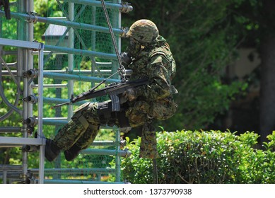 Saitama, Japan - May 20, 2007:Japan Ground Self-Defense Force soldiers during a chemical warfare training.