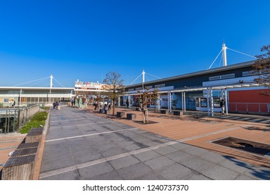"SAITAMA, SAITAMA / JAPAN - OCTOBER 29 2018 : Scenery in front of ""Saitama-Shintoshin"" station.  There is a ""COCOON CITY"" of a pedestrian deck and a large-scale shopping mall."