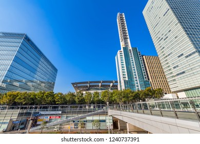 "SAITAMA, SAITAMA / JAPAN - OCTOBER 29 2018 : Scenery of ""Saitama-Shintoshin"". There are many buildings, such as offices, hospitals, and joint government buildings."