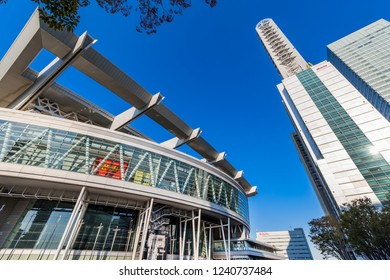 "SAITAMA, SAITAMA / JAPAN - OCTOBER 29 2018 : Scenery of ""Saitama-Shintoshin"". ""Saitama Super Arena"" of multipurpose arena, there are various events such as concerts and sports competitions."