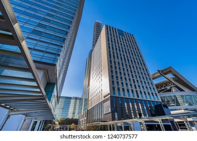 """SAITAMA, SAITAMA / JAPAN - OCTOBER 29 2018 : Scenery in front of """"Saitama-Shintoshin station"""". There are hotels and business buildings near the station, and they are connected by a pedestrian deck."""