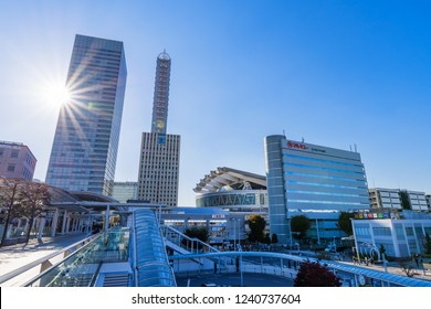 """SAITAMA, SAITAMA / JAPAN - OCTOBER 29 2018 : Scenery in front of """"Saitama-Shintoshin"""" station. High-rise buildings are lined up around the station, and it is a business area."""