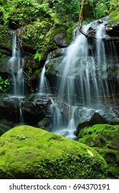 Saithip Waterfall , the beautiful waterfall in deep forest at Phusoidow , Uttaradit Thailand