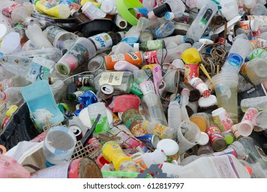 SAKAEO PROVINCE, THAILAND-JULY 14 2016, Plastic and metallic waste from household in waste landfill. Recyclable waste in dump site