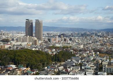 Sakai city skyline in Osaka