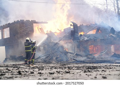 Sakarya,Turkey - 15 March 2020 : Fireman extinguish a house and building; sakarya turkey in the forest and building fires