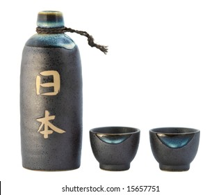 Sake bottle and two cups.