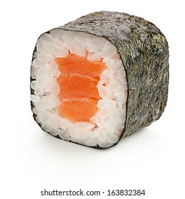 Sake maki Japanese roll with salmon - isolated over white - with shadow