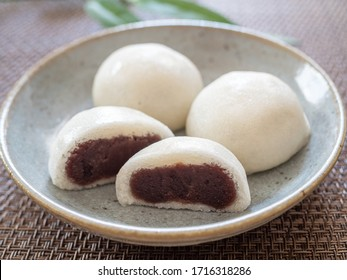 Sake manju(steamed bun stuffed with red bean paste and sake material is used for the dough)
