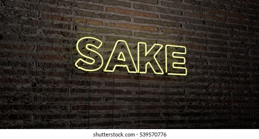 SAKE -Realistic Neon Sign on Brick Wall background - 3D rendered royalty free stock image. Can be used for online banner ads and direct mailers.