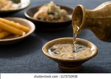 Sake to taste with pottery