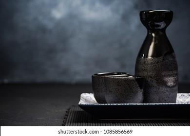 Sake traditional ceramic drinking set.