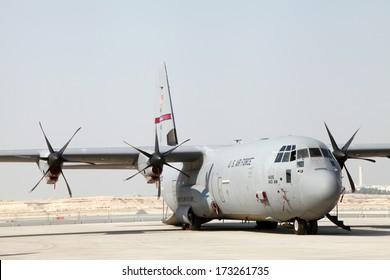SAKHIR AIRBASE, BAHRAIN - JANUARY 16: Static display of Lockheed Martin C-130J Super Hercules in Bahrain International Airshow at Sakhir Airbase, Bahrain on 16 January, 2014