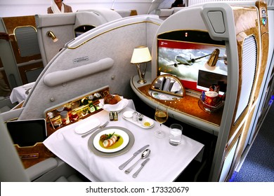 SAKHIR AIRBASE, BAHRAIN - JANUARY 16: Static display of Emirates A380 showing the business class cabin in Bahrain International Airshow at Sakhir Airbase, Bahrain on 16 January, 2014
