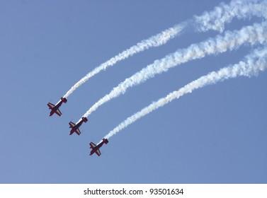 SAKHIR AIRBASE, BAHRAIN - JANUARY 21: Flying display and aerobatic show of Royal Jordanian Falcons in Bahrain International Airshow at Sakhir Airbase, Bahrain on 21 January, 2012