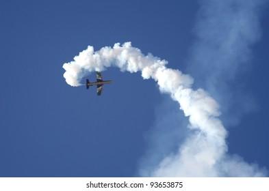 SAKHIR AIRBASE, BAHRAIN - JANUARY 21: Flying display and aerobatic show of Al Fursan in Bahrain International Airshow at Sakhir Airbase, Bahrain on 21 January, 2012